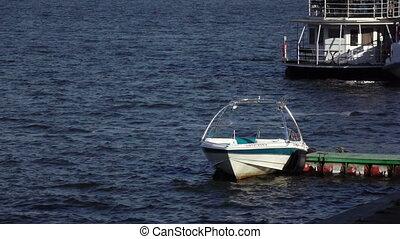 Boat at berth - Slow motion video boat at pier