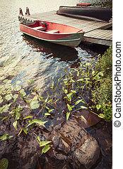 Boat at dock on small lake