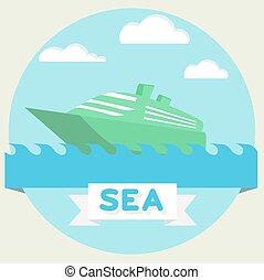 Boat at sea waves