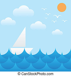boat at sea waves,sun,sky and cloud