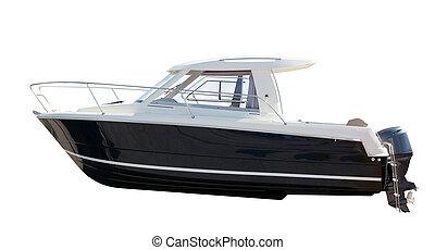 boat., aus, freigestellt, motor, weißes, seitenansicht