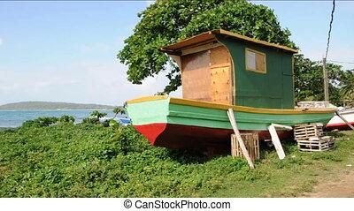 boat being custom built Nicaragua - fishing boat being...