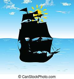 boat black silhouette on sea