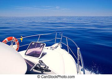 Boat bow open porthole sailing blue calm sea