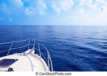 Boat bow sailing in blue Mediterranean sea in summer ...