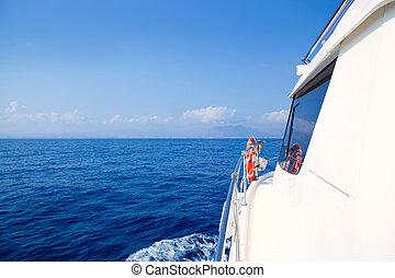 Boat bow sailing in blue Mediterranean sea