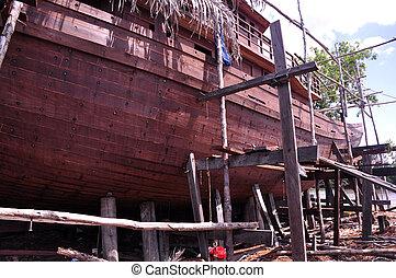 Boat Building - Boat building near Orangutan Rehabilitation...