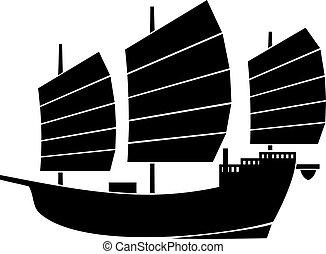 boat), chińczyk, dżonka, (asian, wektor, ilustracja