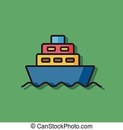 boat color line icon