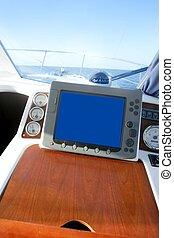 Boat indoor control bridge equipment with sea view on window