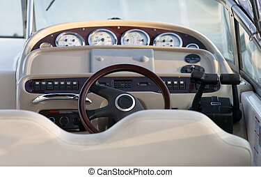 Boat controls - Exclusive boat controls, close up with focus...