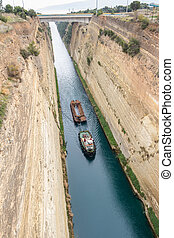 Boat crossing the Corinth channel in Peloponnese Greece