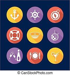 Boat Cruise Icons Flat Design Circle