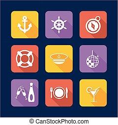 Boat Cruise Icons Flat Design