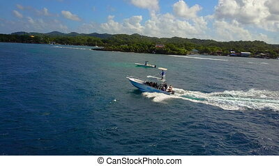Boat cruising through the ocean