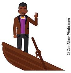 boat., debout, homme affaires, naufrage