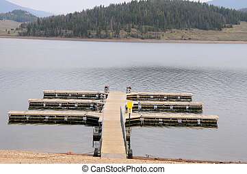 Boat dock at a mountain lake