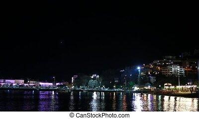 Boat dock at night, Budva Montenegro
