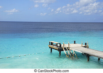 Boat dock in tropical waters - A wooden boat dock stretches...