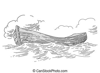 boat drawing on white background, vector illustration