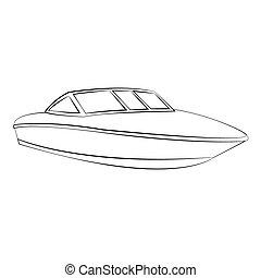 Boat - Black outline vector boat on white background.
