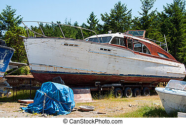 Boat dry docked for repairs