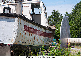 Boat dry docked
