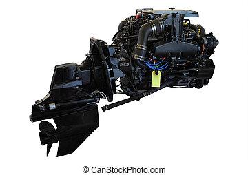 boat engine under the white background