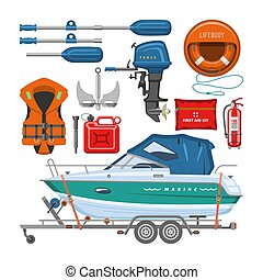 Boat equipment vector motorboat yacht with life-vest lifebuoy paddle anchor illustration marine set of nautical sailboat yachting or speedboat shipping transportation isolated on white background