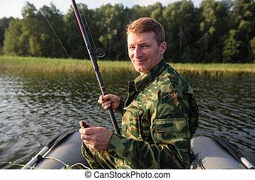 boat., fish, 棒, 湖, ゴム, 漁師, 釣り