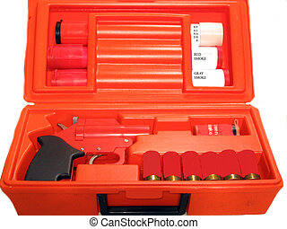 Boat Flare Gun Kit - Flare gun kit used on a boat,over white