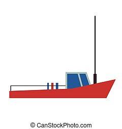 boat flat illustration on white