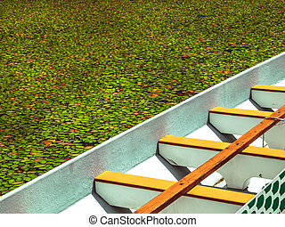 Boat floating in a marsh