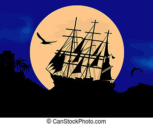 Boat floating on the ocean in front of a very big full moon...