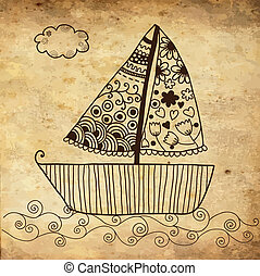 Boat floating on the sea background on grunge paper