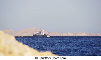 Boat Floats in the Red Sea - EGYPT, SOUTH SINAI, SHARM EL...