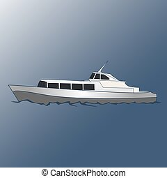 Boat for cruises on the sea