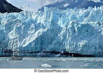 Boat Giving Scale to Massive Tidewater Margerie Glacier, Alaska