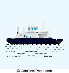 boat., grande, trem, mar, balsa, navio