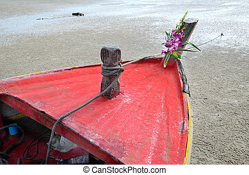 Boat head on the beach.