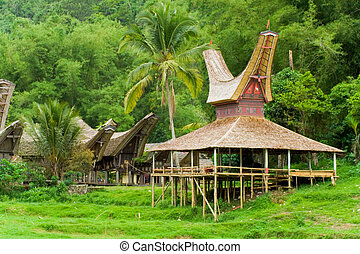 A boat house used for assemblies at a Tana Toraja village near Rantepao, Sulawesi, Indonesia