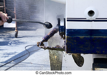 Boat hull cleaning water pressure washer barnacles...