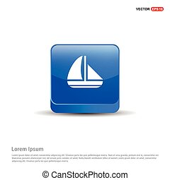 Boat Icon - 3d Blue Button