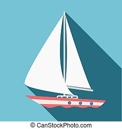 Boat icon. Flat design. Vector illustration.