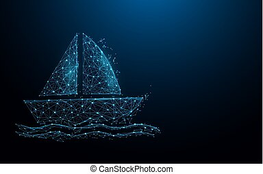 Boat icon form lines, triangles and particle style design. Illustration vector