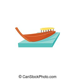 Boat icon in cartoon style