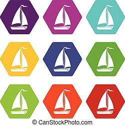 Boat icon set color hexahedron