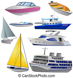 Boat icon set - Vector illustration of 8 different boat ...