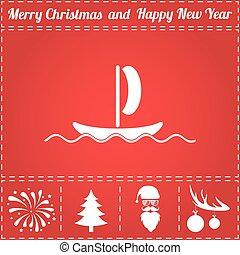 Boat Icon Vector. And bonus symbol for New Year - Santa...