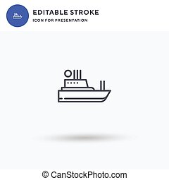 Boat icon vector, filled flat sign, solid pictogram isolated on white, logo illustration. Boat icon for presentation.